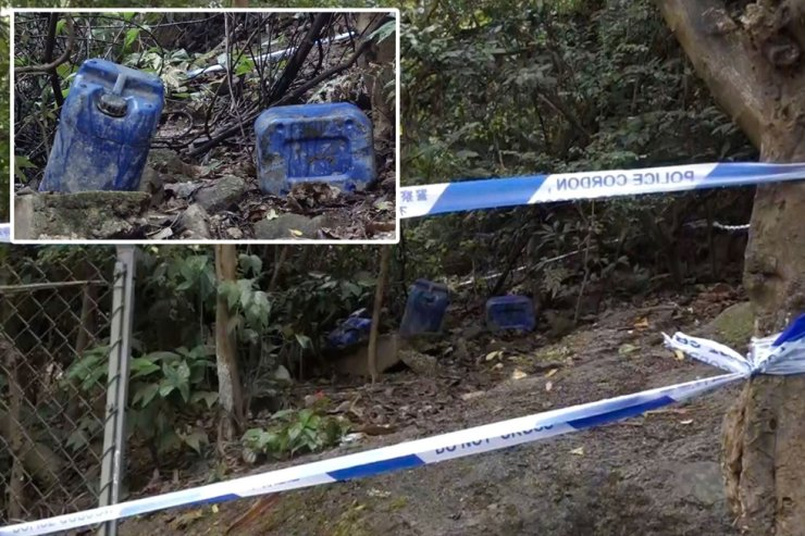 The dangerous goods were found off Shatin Pass Road near Lion Rock Country Park in Tsz Wan Shan. The jerry cans of petrol were stashed on a hillside. South China Morning Post