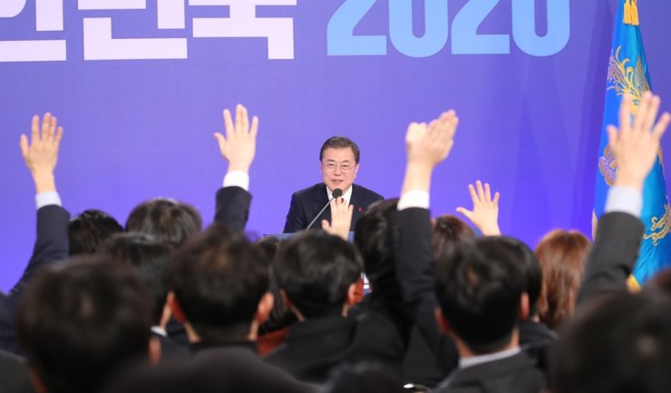President Moon Jae-in attends the New Year's press conference at Cheong Wa Dae in Seoul, Tuesday. Yonhap