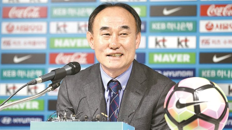 Kim Hak-bum, head coach of the South Korean men's Olympic national football team, speaks during a media conference at the Korea Football Association Hall. / Yonhap