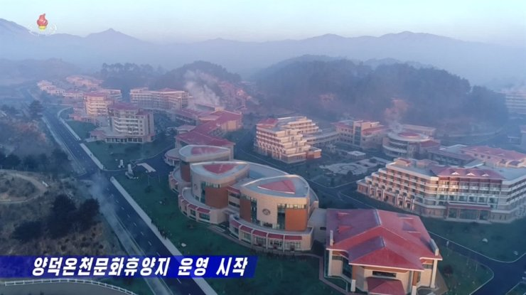 An aerial view of Yangdok spa report in North Korea's Pyongan Province. Captured from Korea Central TV