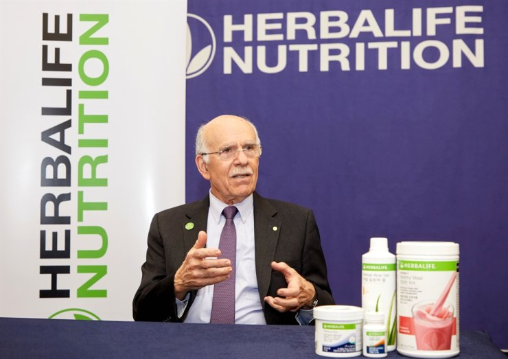 Dr. Louis J. Ignarro speaks at the Herbalife Nutrition's 2020 SPECTACULAR event held in Busan, Jan. 11. / Courtesy of Herbalife Nutrition Korea