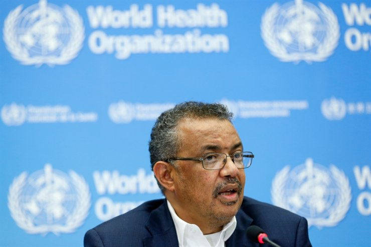 World Health Organization Director-General Tedros Adhanom Ghebreyesus speaks during a press conference following an emergency talks over the new SARS-like virus spreading in China and other nations in Geneva on January 22, 2020. - The coronavirus has sparked alarm because of its similarity to the outbreak of SARS (Severe Acute Respiratory Syndrome) that killed nearly 650 people across mainland China and Hong Kong in 2002-03. (Photo by PIERRE ALBOUY / AFP)