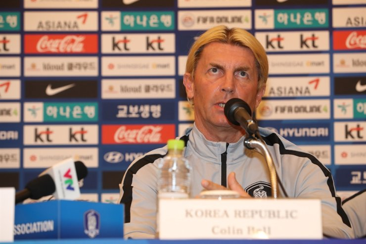 South Korean women's national football team head coach Colin Bell speaks during a press conference at the Lotte Hotel in Seogwipo on Jeju Island, Sunday. / Yonhap