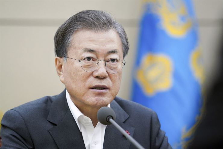 President Moon Jae-in speaks during a meeting at Cheong Wa Dae on Jan. 31. Yonhap