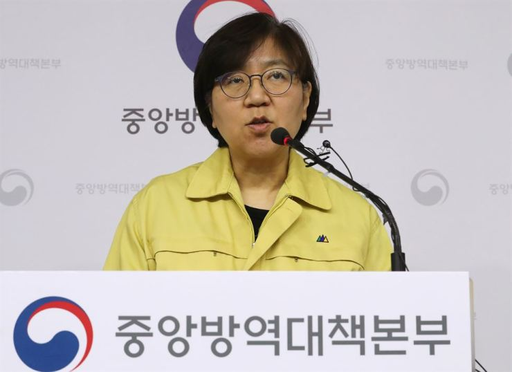 Jung Eun-kyeong, head of the Korea Centers for Disease Control and Prevention, speaks at a briefing on coronavirus contamination at the government complex in Sejong, Friday. /Yonhap