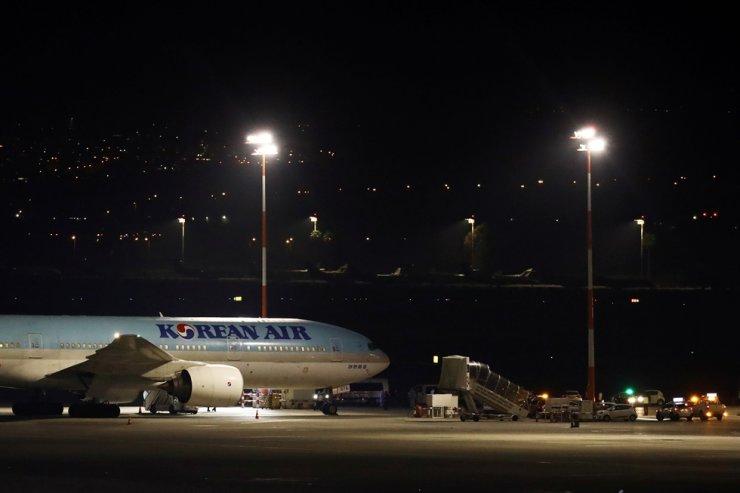 An airplane of Korean Air is seen after landing in Ben Gurion airport in Lod, near Tel Aviv, Israel Feb. 22, 2020 Reuters