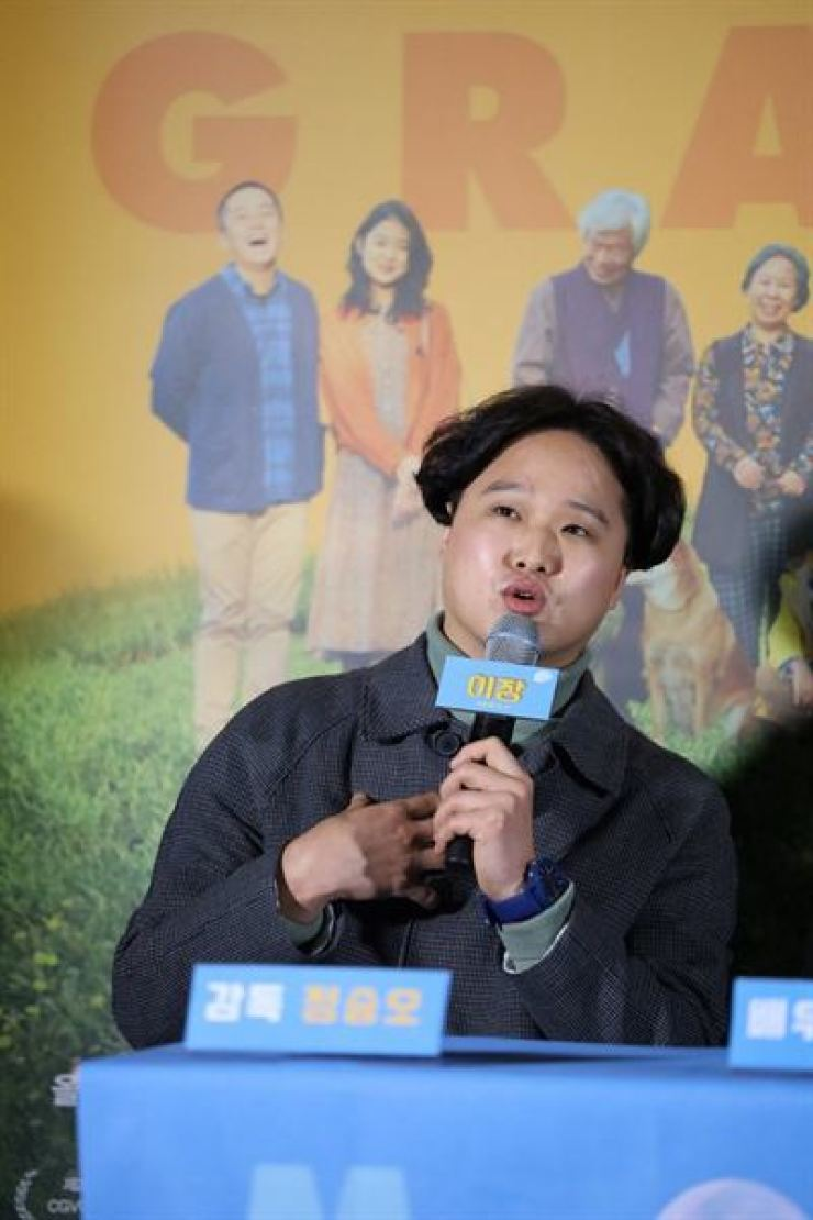 Director Jeong Seung-o speaks during a press conference for the film 'Move the Grave' held at Lotte Cinema Konkuk University Entrance Branch, Feb. 20. / Courtesy of Indiestory
