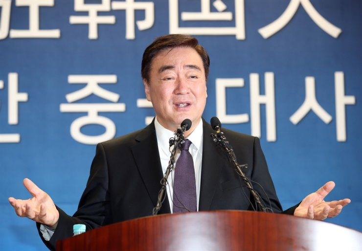 Chinese Ambassador to Korea Xing Haiming speaks during a press conference at the Chinese Embassy in Seoul, Tuesday. / Yonhap