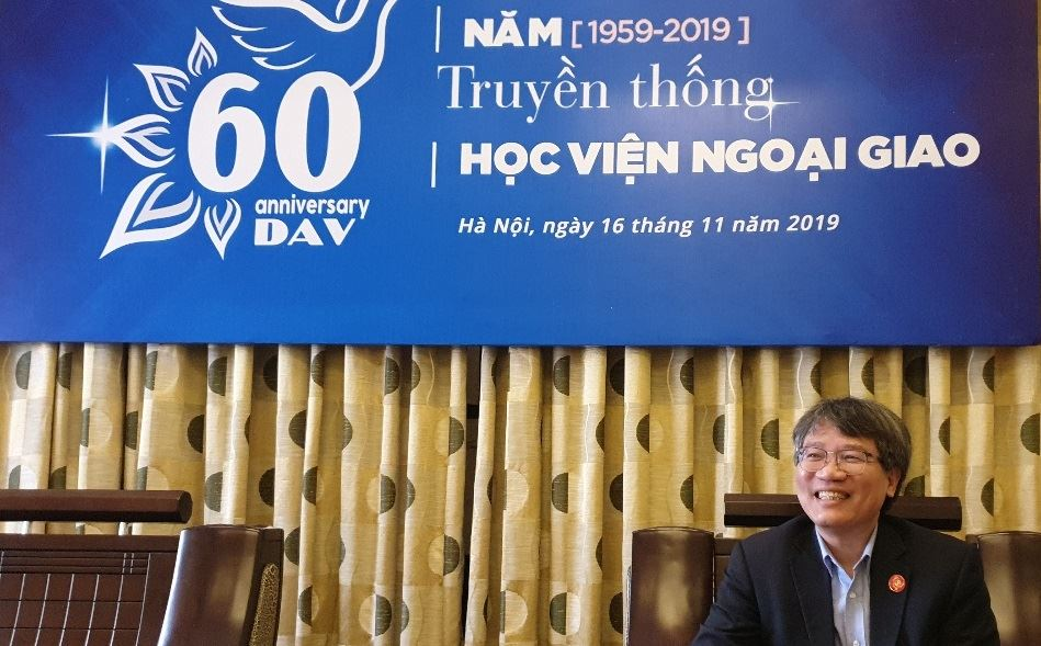 Nguyen Vu Tung, president of the Diplomatic Academy of Vietnam (DAV) and the country's ambassador-designate to Seoul, speaks with The Korea Times during an exclusive interview at DAV in Hanoi, Jan. 7. A career diplomat, he has served as president of DAV, an academic institution operated under the auspices of the Vietnamese foreign ministry, since 2016. / Korea Times photo by Yi Whan-woo