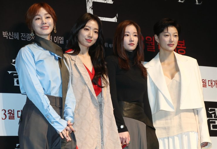 From left, actresses Kim Sung-ryoung, Park Shin-hye, Jun Jong-seo and Lee El pose for a photo at a press conference for 'Call' at CGV Apgujeong in Seoul, Monday. Yonhap