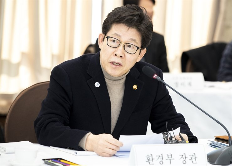 Environment Minister Cho Myung-rae speaks during a media conference at the Korea Press Center in Seoul, Thursday. / Courtesy of Ministry of Environment