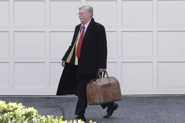 Former National security adviser John Bolton leaves his home in Bethesda, Md. Tuesday, Jan. 28, 2020. AP