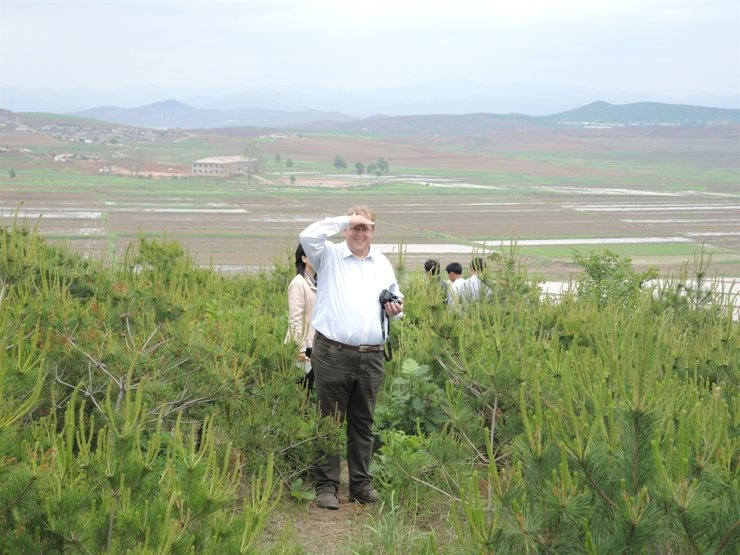 Bernhard Seliger at a model afforestation site in North Korea's Sangso-ri village in Taedong County, South Pyongan Province. Courtesy of Hanns Seidel Foundation Korea Office