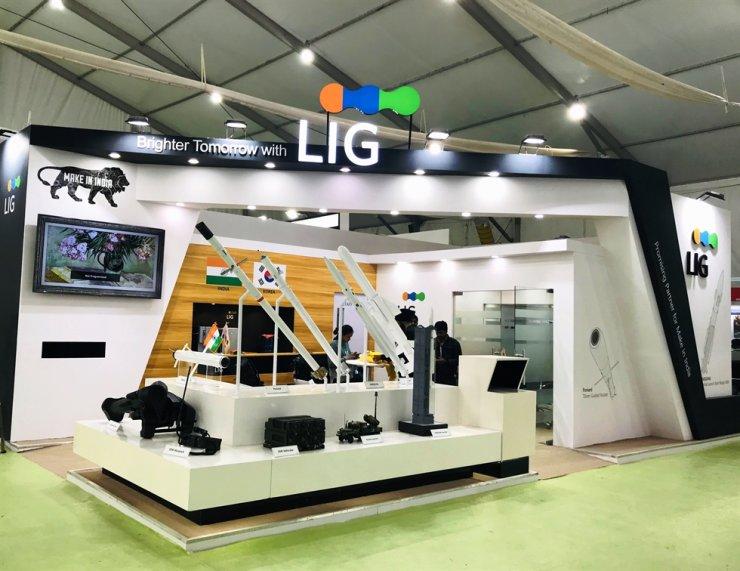 LIG Nex1's booth at DEFEXPO 2020 in India. / Courtesy of LIG Nex1