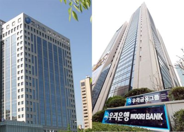 The Financial Supervisory Services' headquarters on Yeouido, Seoul, left, and Woori Financial Group's headquarters in central Seoul / Korea Times file