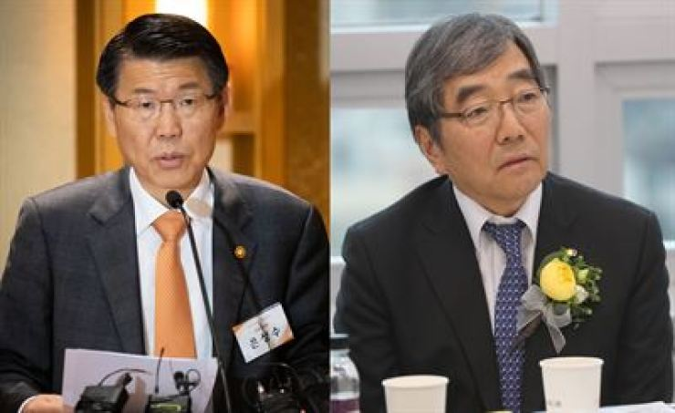 Financial Services Commission Chairman Eun Sung-soo, left, and Financial Supervisory Service Governor Yoon Suk-heun / Korea Times file