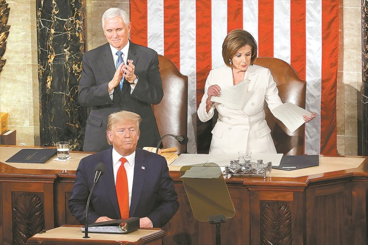 House Speaker Nancy Pelosi of Calif., tears her copy of President Donald Trump's s State of the Union address after he delivered it to a joint session of Congress on Capitol Hill in Washington, Tuesday. AP