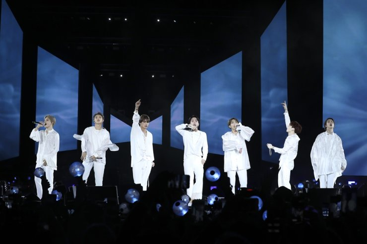K-pop band Bangtan Boys perform during their concert at Citi Field in New York on Oct. 7, 2018 (KST). / Courtesy of Big Hit Entertainment
