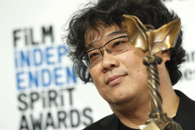 Winner of Best International Film 'Parasite' Korean film director Bong Joon-ho poses in the press room during the 35th Film Independent Spirit Awards in Santa Monica, Calif., on Feb. 8, 2020. Reuters