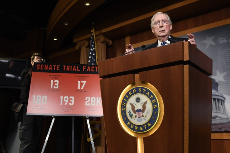 Senate Majority Leader Mitch McConnell of Ky., speaks during a news conference on Capitol Hill in Washington, Wednesday, Feb. 5, 2020, following a vote in the Senate to acquit President Donald Trump on both articles of impeachment. AP
