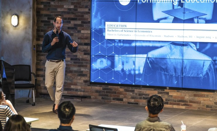 Rezi founder and CEO Jacob Jacquet speaks during a seminar at DREAMPLUS Gangnam startup innovation center in southern Seoul, May 25, 2019. Courtesy of Rezi