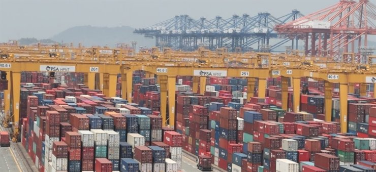 Seen above is a container terminal in the nation's southern port city of Busan. Yonhap