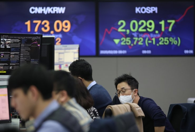 Dealers at Hana Bank watch computer monitors in a dealing room at its office in Seoul, on Feb. 27. The Seoul bourse fell below 2,000 points on Friday amid rising concerns over the novel coronavirus. /Yonhap