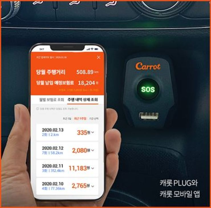 The image provided by Hanwha General Insurance's digital non-life insurer Carrot shows a customer checking insurance premium rates on a mobile phone / Courtesy of Carrot