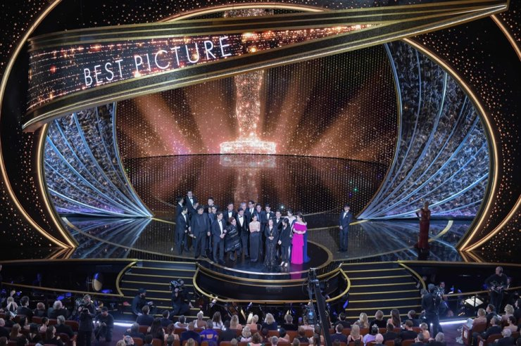 'Parasite' cast and crew accept the award for Best Picture for 'Parasite' during the 92nd Oscars at the Dolby Theatre in Hollywood, Calif. on Feb. 9, 2020. AFP