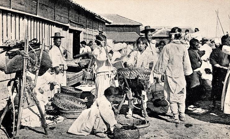 Busan's port and Deer Island, circa 1900s.  Robert Neff Collection