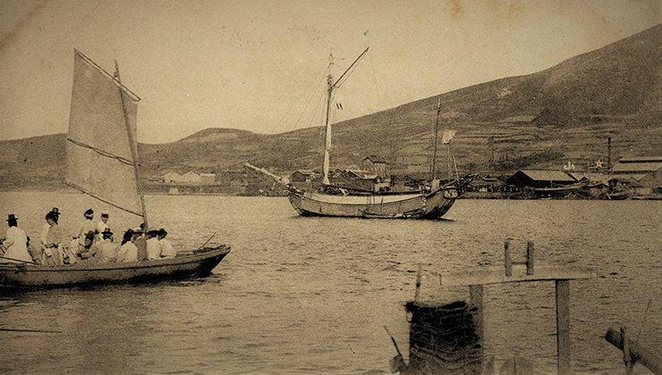 A view of Fusan's harbor, circa 1900s.  Diane Nars Collection