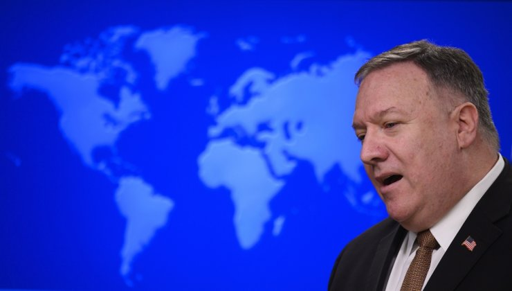 Secretary of State Mike Pompeo speaks during a news conference at the State Department on Wednesday, March 25, 2020, in Washington. Pompeo said Wednesday that the Group of Seven members were all aware of China's 'disinformation campaign regarding the coronavirus outbreak, as the two countries dispute the origins of the disease. AP