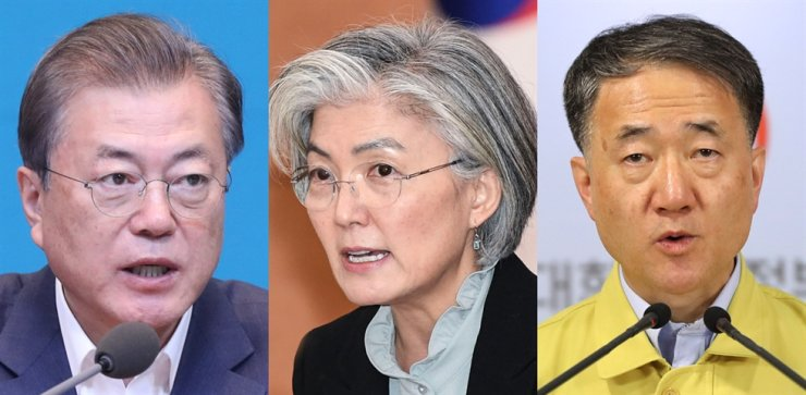 From left are President Moon Jae-in, Foreign Minister Kang Kyung-wha and Health Minister Park Neung-hoo