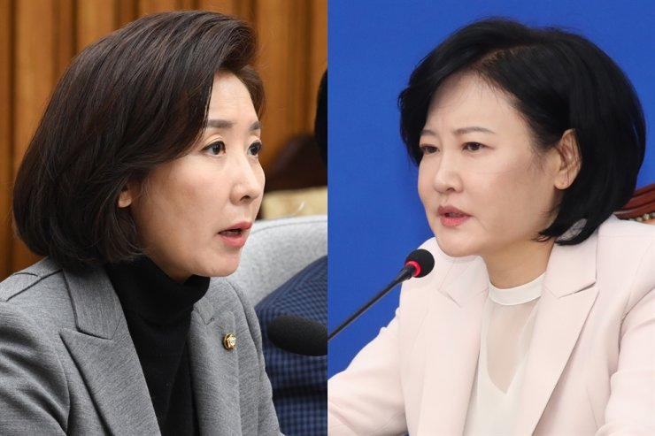 Lee Soo-jin, right, a progressive former judge and candidate of the ruling Democratic Party of Korea, will challenge Rep. Na Kyung-won of the main opposition United Future Party in Dongjak B, Seoul, in the April 15 general election. /The Korea Times