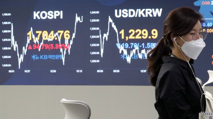 A dealer passes by an electronic board showing the closing price of the benchmark KOSPI and the won-dollar exchange rate, at a dealing room of KB Kookmin Bank in Seoul, Wednesday. Yonhap