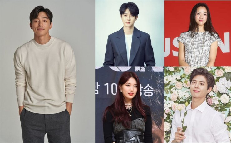 Actor Gong Yoo, left, is in talks to join the futuristic movie 'Wonderland' that will star A-list actors, clockwise from top left, Choi Woo-shik, Tang Wei, Park Bo-gum and Bae Suzy. Korea Times file