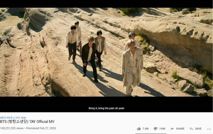 BTS's 'ON' music video has had over 100 million views on YouTube. Screen capture from YouTube