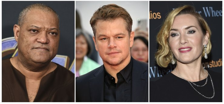 This combination photo shows actors, from left, Laurence Fishburne, Matt Damon and Kate Winslet, who were among the stars of the 2011 thriller 'Contagion,' and who have reunited for a series of public service announcements to warn about COVID-19. AP