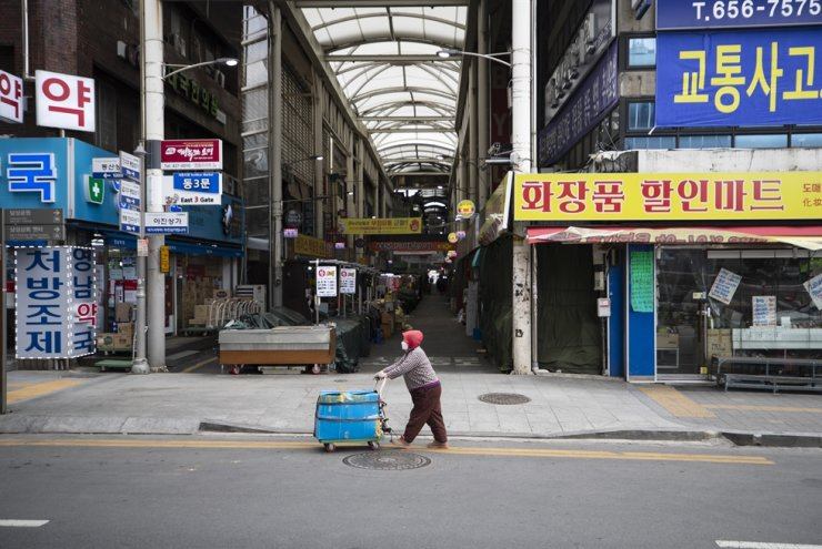 An empty market in Daegu, March 15 Yonhap