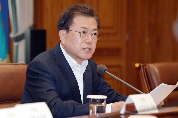 President Moon Jae-in presides over the second session of the emergency economic council meeting at Cheong Wa Dae in Seoul, Tuesday. / Yonhap