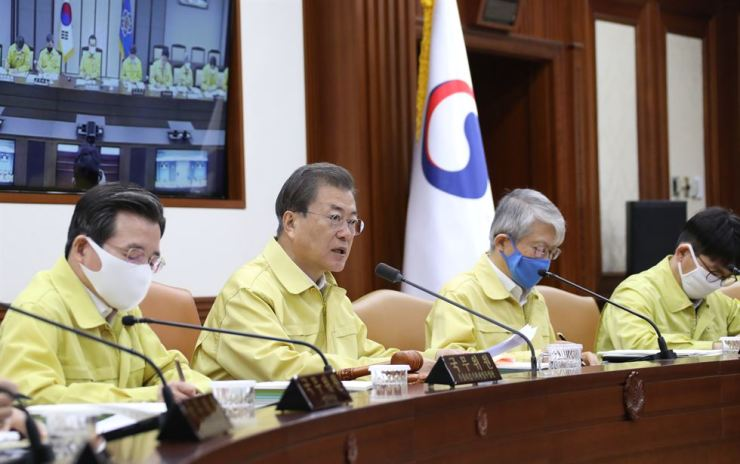 President Moon Jae-in speaks during a Cabinet meeting at Government Complex Seoul, Tuesday. / Yonhap