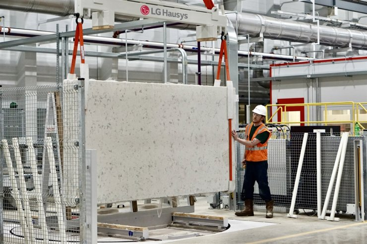 An LG Hausys employee work in the company's 'engineered stone' production line in Georgia, in this photo provided, Tuesday. / Courtesy of LG Hausys