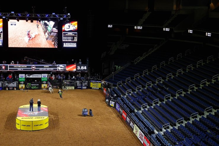 A view from an empty Infinite Energy Center during the second day of competition for the PBR Unleash The Beast Gwinnett Invitational on Sunday in Duluth, Georgia. The competition is being held behind closed doors to the general public due to the worldwide spread of COVID-19. / AFP-Yonhap