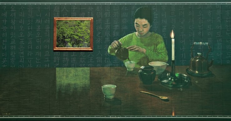 Kim Myong-hi's 'Drinking Tea' (2004) / Courtesy of artist and Art Projects International, New York