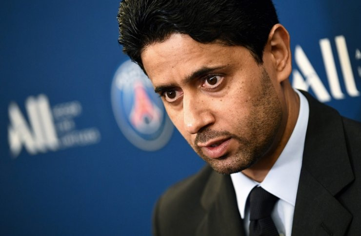 Paris Saint-Germain's Qatari president Nasser Al-Khelaifi answers the press during a press conference to annonce new shirt sponsorship deal with the French multinational Accor at the Parc des Princes stadium in Paris, Feb, 22, 2019. Al-Khelaifi and FIFA's former Secretary General Jerome Valcke will be tried in September in a corruption case linked to the attribution of broadcasting rights, the Swiss judiciary said Tuesday. / AFP-Yonhap