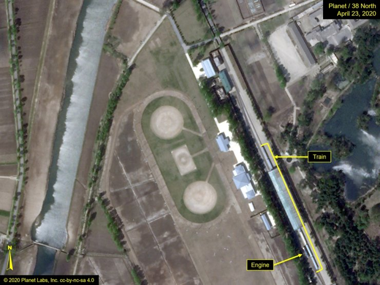 What is described by Washington-based North Korea monitoring project 38 North as a special train possibly belonging to North Korean leader Kim Jong Un is seen in a satellite image with graphics taken over Wonsan, North Korea April 23, 2020. Image taken April 23, 2020. Planet Labs-38 North/Handout via REUTERS.