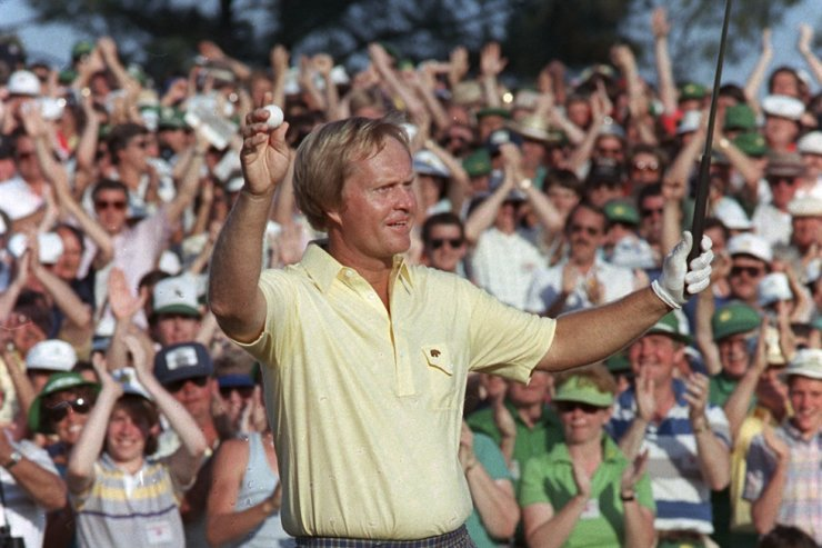 Jack Nicklaus reacts as he finishes on the 18th to win the Masters Championship at Augusta National Golf Club in Augusta, Ga. In this April 14, 1986, file photo. AP-Yonhap