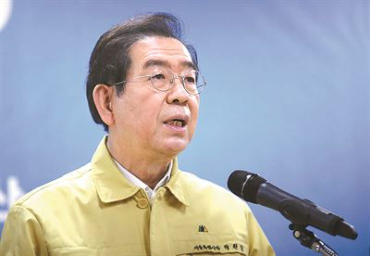 Seoul Mayor Park Won-soon speaks during a press conference on the COVID-19 outbreak on March 13 in Seoul./ Yonhap