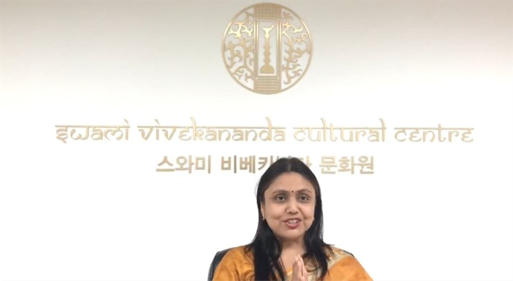 India Indian Cultural Centre Director Sonu Trivedi delivers a video message to mark the 70th anniversary of the Indian Council for Cultural Relations (ICCR), April 9, in this captured image. / Courtesy of Indian Cultural Centre