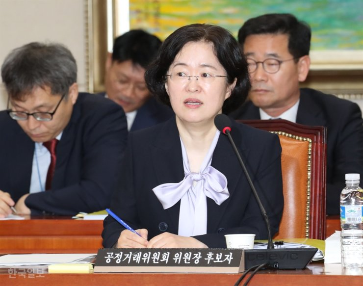 Korea Fair Trade Commission Chairperson Joh Sung-wook speaks during the confirmation hearing prior to her appointment in the current position at the National Assembly in this 2019 file photo. / Korea Times photo by Oh Dae-keun
